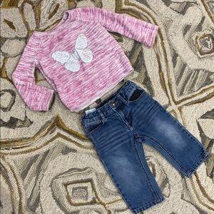 Baby girl sz 12 months Joe's jeans & sweater